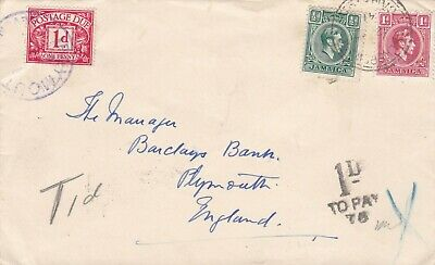 JAMAICA 1941 WWII COVER POSTED TO ENGLAND TAXED 1d WITH POSTAGE DUE STAMP 334#