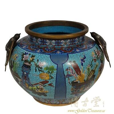 21 inches wide Antique Chinese Large Cloisonne Pot