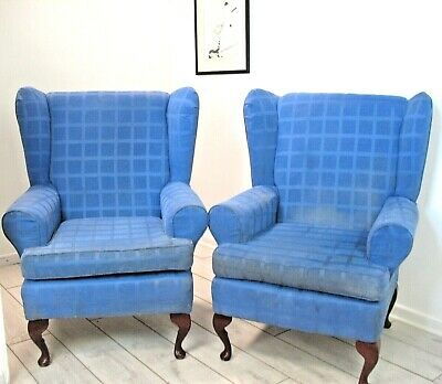 Pair Blue vintage Parker Knoll type wing back chairs Queen Anne legs PROJECT