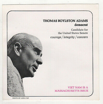 1966 THOMAS BOYLSTON ADAMS Massachusetts US SENATE Political Brochure BOSTON MA