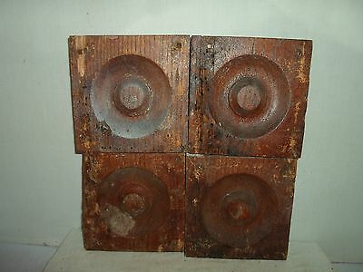 4 antique door / window plinths / corner blocks, antique woodwork, oak!  Group 1