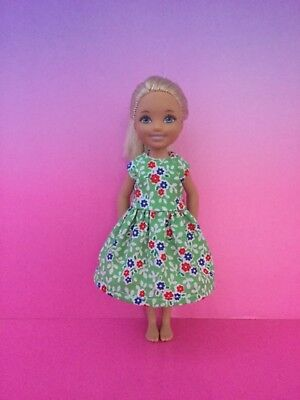 Barbie sister CHELSEA Doll Clothes Green Floral Dress New Handmade NO DOLL