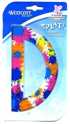NEW Westcott Splat Soft Touch Protractor 6 Inch 180 degree Ruler BLUE PINK ORANG