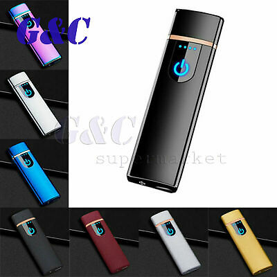 Electric Lighter Smart Touch Sensor USB Rechargeable Flameless Windproof Metal
