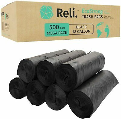 Reli. Recyclable Eco-Friendly Trash Bags, 13 Gallon (500 Count) - SCS Certified