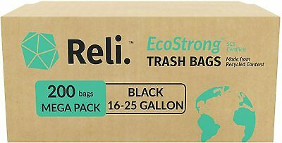 Reli. Recyclable Eco-Friendly Trash Bags, 16-30 Gallon (200 Count) SCS Certified