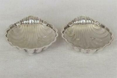 A Stunning Pair Of Solid Silver Shell Salt Bowls With Liners Dates 1963-64.