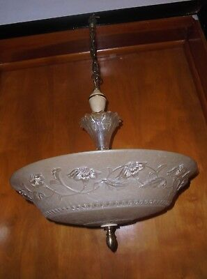 Antique Ornate 4 Light Hanging Ceiling Chandelier Lamp  Fixture W/Shade 1900's