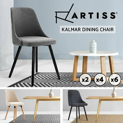 2/4/6x Artiss Replica Kalmar Dining Chairs Wooden Timber Fabric Linen Kitchen