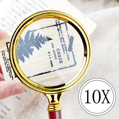 10X Magnifier Magnifying Glass Handheld Jewelry Loupe Reading 60/70/80/90mm UK