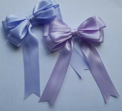 Lilac or Light Lilac Double Satin Bows In Packs of 2, 5 or 10