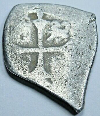 1600's Spanish Silver 1 Reales Cob Piece Of 8 Real Pirate Treasure Colonial Coin