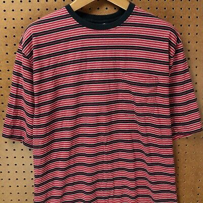 db87bc6173 vtg 90's PURITAN pocket t-shirt LARGE surfer stripes vaporwave grunge skater