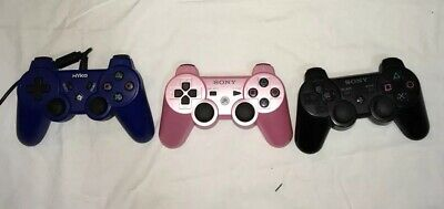 Sony PS3 Controller Sixaxis Dual Shock 3 Wireless Playstation 3 Red Pink Bundle