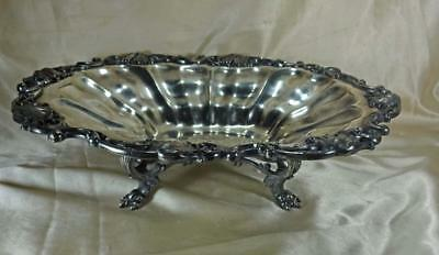 Antique Reed & Barton Chased Ornate Silverplate Center Bowl Lion Paw Feet c1880