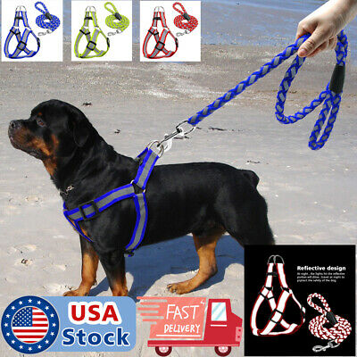 Reflective Dog Harness Step-in Nylon Dog harness with leash Set  S M L Safety