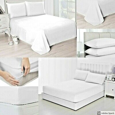 Hotel Quality 300 TC White 100% Cotton Fitted Sheets/ Flat Sheets & Pillow Cases