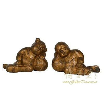 Vintage Chinese Gilt Wooden Carved Children Statue