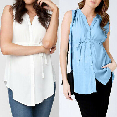 Women Lady Pregnant Maternity Nursing Solid Breastfeeding Summer Blouse Clothes