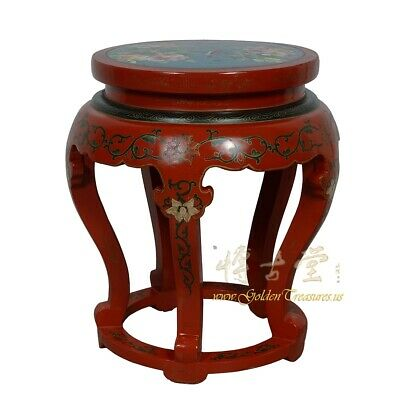 Antique Chinese Cloisonne Top End Table/Stool