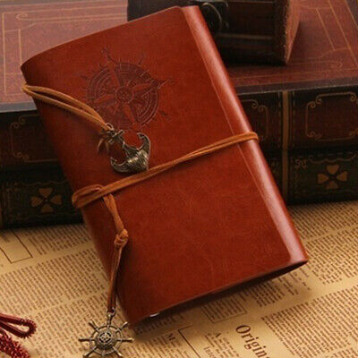 Leather Retro Notebook Spiral Ring Binder Journal Travel Gift Diary Book J1C9