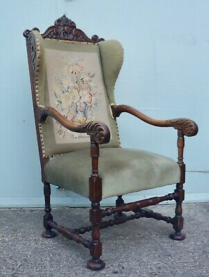 Antique Oak Carolean Profusely Carved Gothic Green Man Wingback Armchair Chair