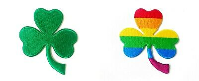 LUCKY Three Leaf Green Clover Shamrock Sew/Iron On Patch Embroidered Applique