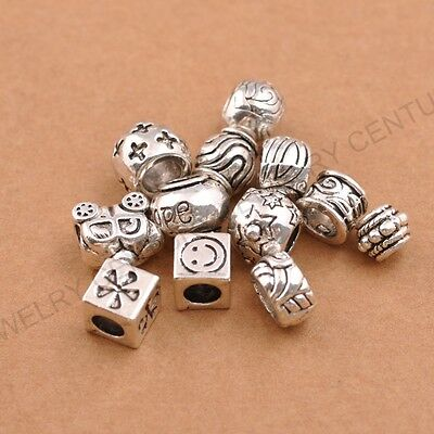 10Pcs Tibetan Silver Big Hole European Charm Spacer Beads Bracelet Necklace