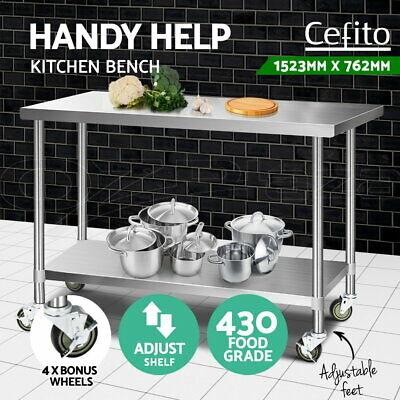 Cefito Stainless Steel Kitchen Benches Work Bench Food Prep Table With Wheels L