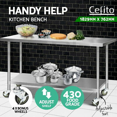Cefito Stainless Steel Kitchen Benches Work Bench Food Prep Table With Wheels XL