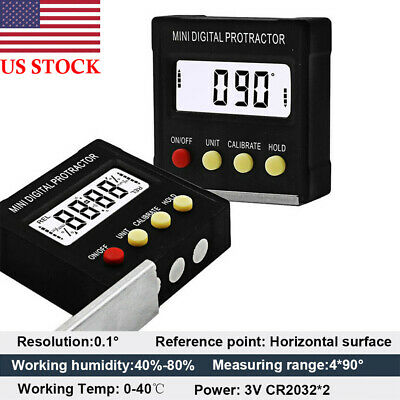 Digital LCD Cube Inclinometer Angle Gauge Meter Protractor Electronic Level Box