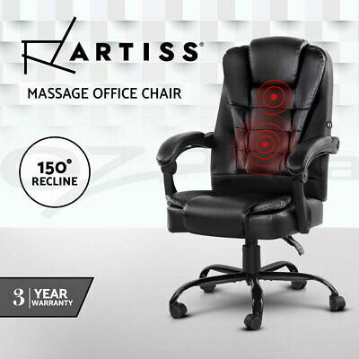Artiss Massage Office Chair PU Leather Recliner Computer Gaming Chairs Black