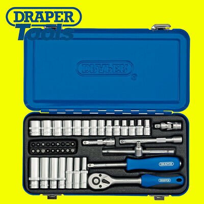 "Draper 16365 45 Piece 1/4"" Sq. Dr. Metric Socket Set In Metal Case"