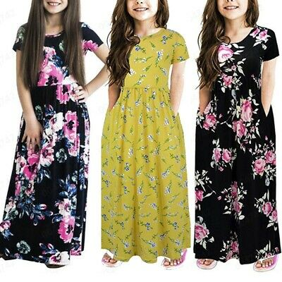 Fashion Toddler Baby Girl Kid Flower Print Princess Party Dress Outfit Clothes K
