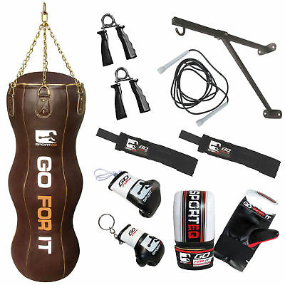 Sporteq® 4.5ft Leather Heavy Filled Punch Bag Gloves Chains Bracket Kickboxing