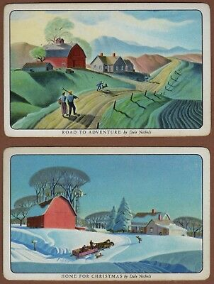 Pair Playing Cards 2 x Single Swap Card - Vintage Named DALE NICHOLS Art Picture