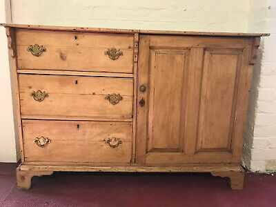 Antique Pine Cupboard With Three Drawers