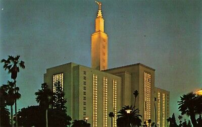 Postcard The Los Angeles Temple at Night California