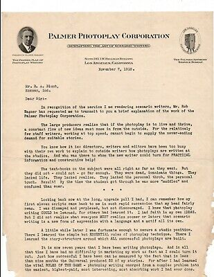 RARE Hollywood History 1918 Letter Letterhead / Palmer Photoplay Corp.