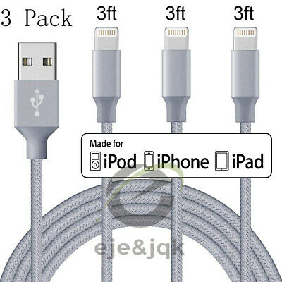 3 Pack 3Ft Lightning Cable Heavy Duty Fast Charger Charging Cord for iPhone 7 6s