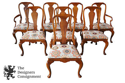 8 Baker Furniture Queen Anne Style Walnut Dining Chairs Floral Upholstered Seat