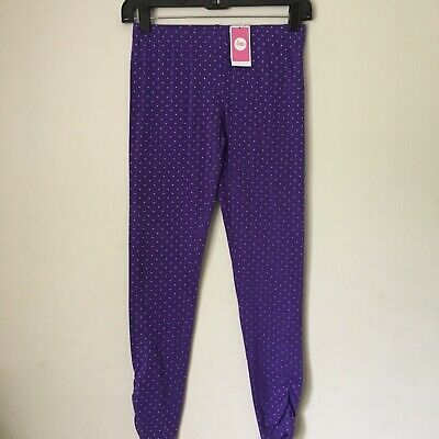 CIRCO Girls purple LEGGINGS with sparkle dots. Size Large 10-12. NWT!