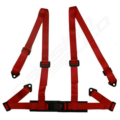 Red 4 Point Racing Seat Belt Harness For Car/Track Day/Off Road Buggy New