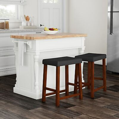 Copper Grove Kalesar Butcher Block Top White Kitchen Island With 24