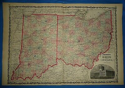 Vintage 1862 INDIANA - OHIO Map Old Antique Original Johnson's Atlas Map 425