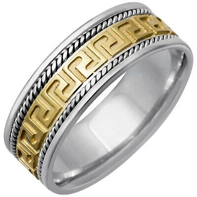 14k Two-Tone Gold Greek Key Design Comfort Fit Men's Wedding Bands