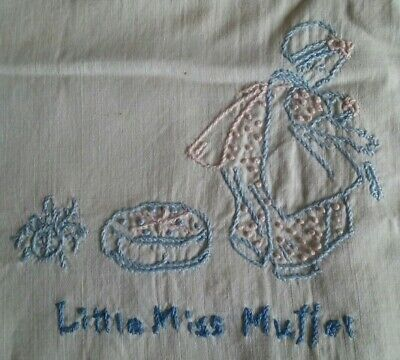 """ANTIQUE VINTAGE HAND EMBROIDERED BABY CRIB QUILT ~ NURSERY RHYMES ~ 35""""x50"""""""