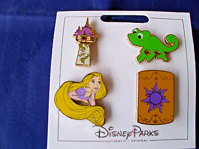 Disney Parks * RAPUNZEL * 4 Pin Set on Card Trading Pins Pascal Tower Lantern