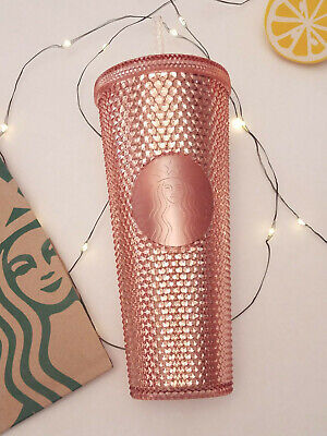 NEW 2019 Starbucks Rose Gold Iridescent Hologram Studded Venti Cup Tumbler 24oz