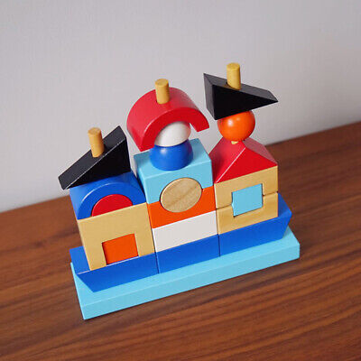 Children Wooden Construction Blocks Multi Color Pirate Ships Shaped Baby Toys D